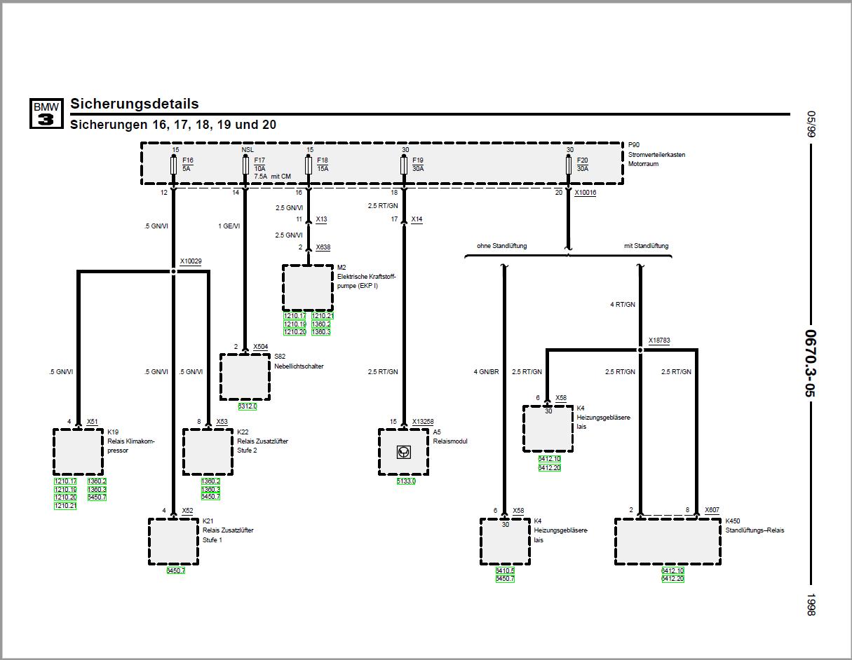 BMW E36 Compact 316 Automatikgetriebe Sicherung Nr. 16 permanent ...